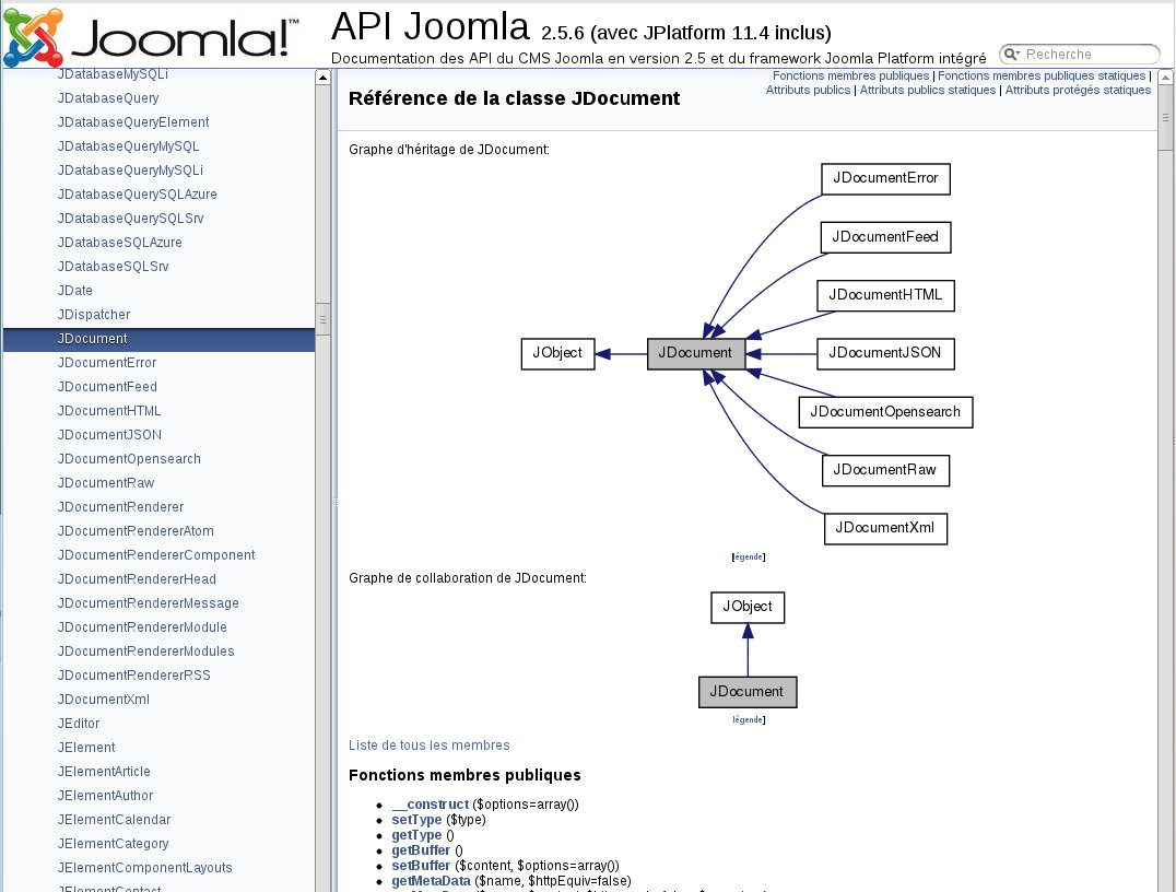 Capture de la documentation en ligne des API Joomla au format PHPdoc via Doxygen